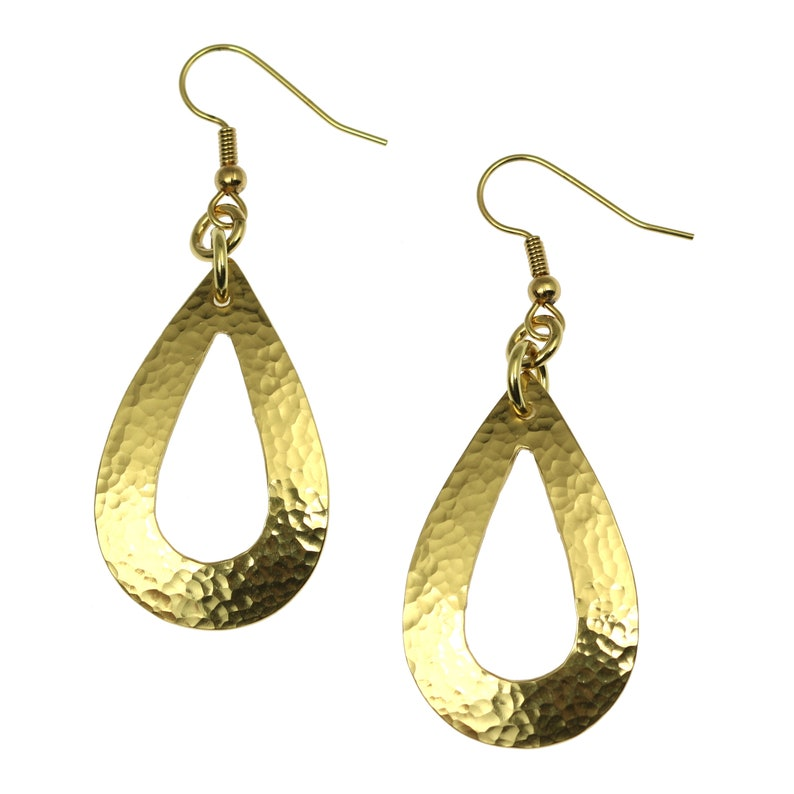 Hammered Brass Nu Gold Open Teardrop Earrings Gold Tear Drop image 0