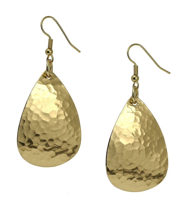Hammered Gold Teardrop Earrings Hammered Gold Earrings image 0