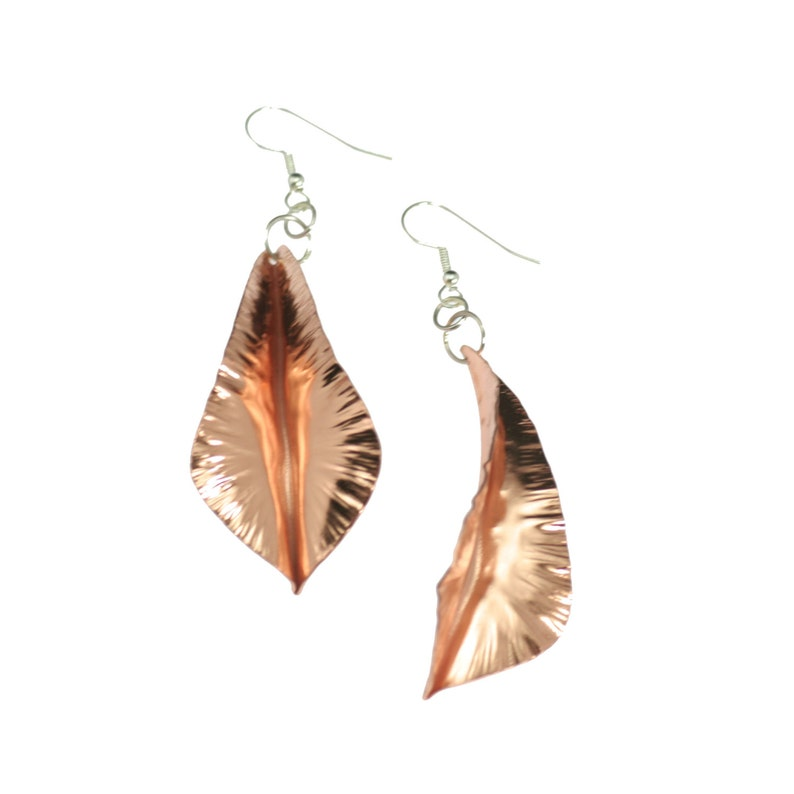 7 Year Anniversary Gift  Fold-Formed Copper Leaf Earrings 7th image 0