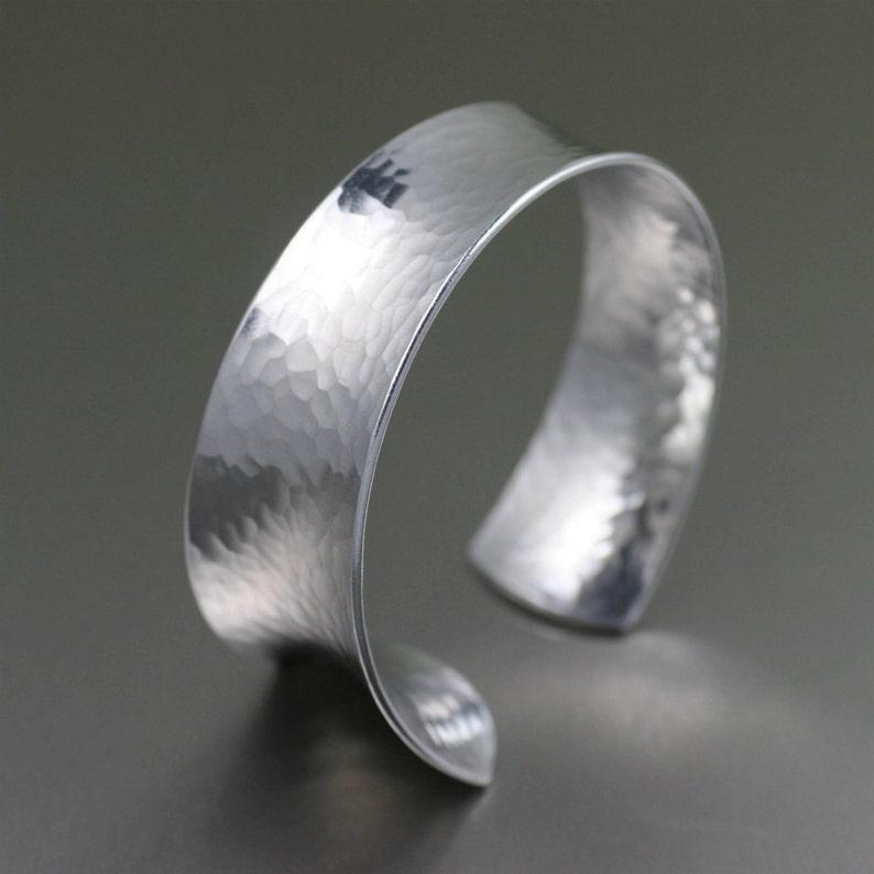 Hammered Anticlastic Aluminum Bangle Bracelet    Silver image 0