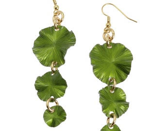 10 Year Anniversary Gift Green Lily Pad Chandelier Earrings 10th Anniversary Gift For Her Ten Year Anniversary Gift Aluminum Anniversary