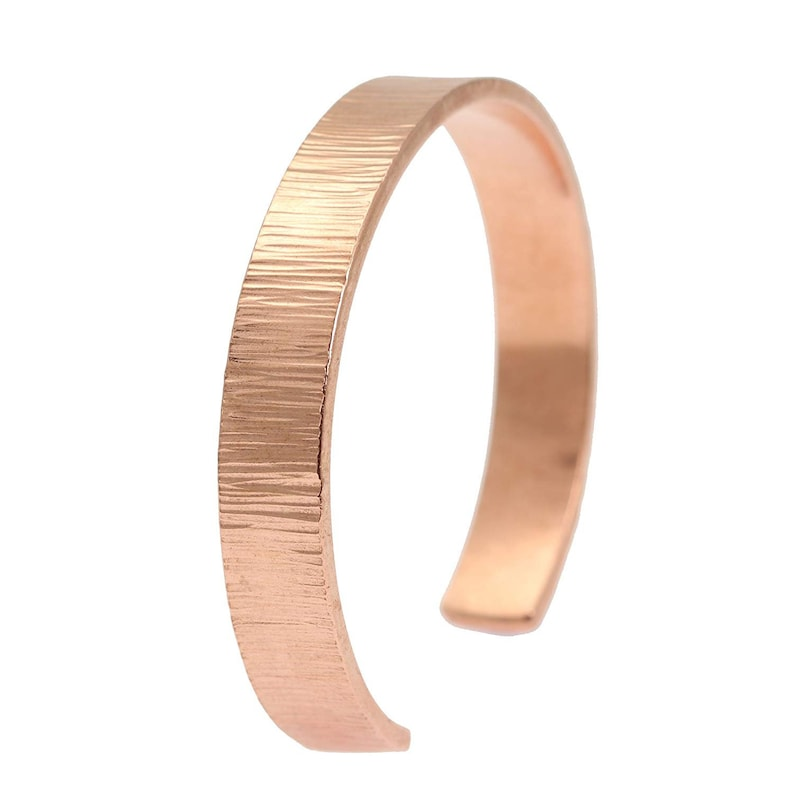 10mm Wide Chased Copper Cuff Bracelet  Uncoated Solid Copper image 0