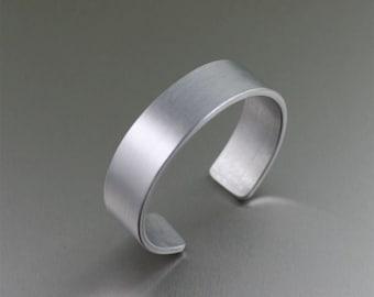 Mens Brushed Hypoallergenic Aluminum Cuff - Silver Tone Bracelets - 10th Anniversary Gift - Unisex Aluminum Cuffs