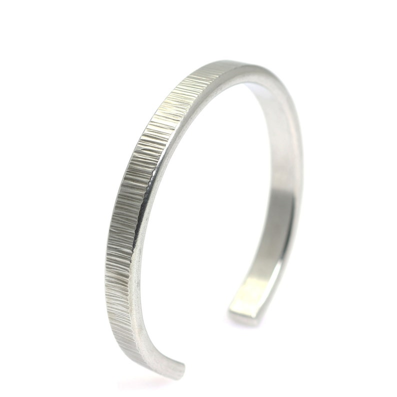 Thin Chased Aluminum Cuff  Silver Stackable Mix and Match image 0