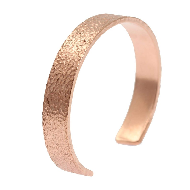 10mm Wide Texturized Copper Cuff Bracelet  Uncoated Solid image 0