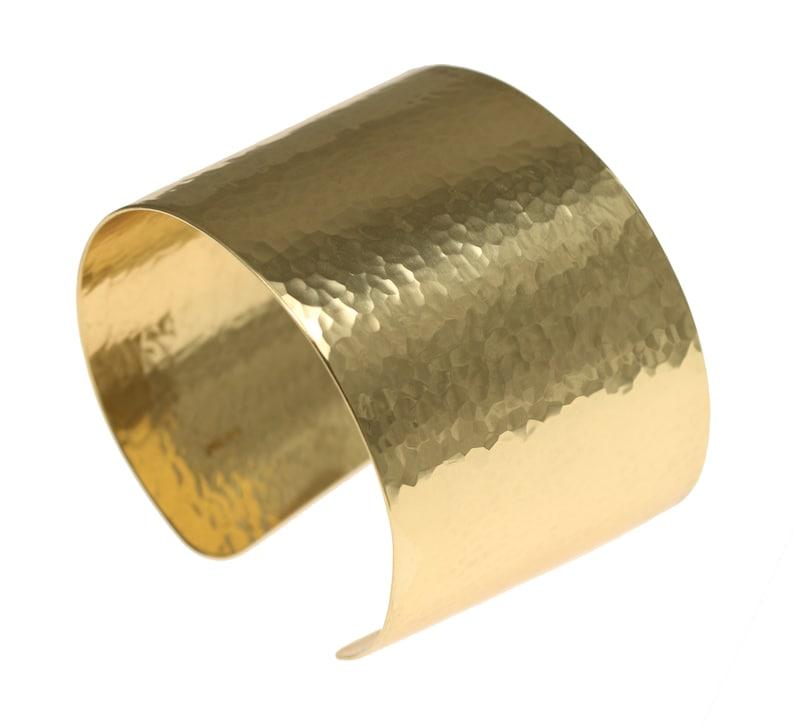 1 3/4 Inch Wide Hammered Gold Cuff Bracelet by John S Brana image 0