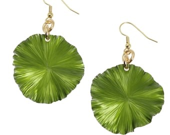 Lime Anodized Aluminum Lily Pad Earrings - Green Leaf Earrings -  Green Drop Earrings - Makes a Cool 10th Wedding Anniversary Gift!