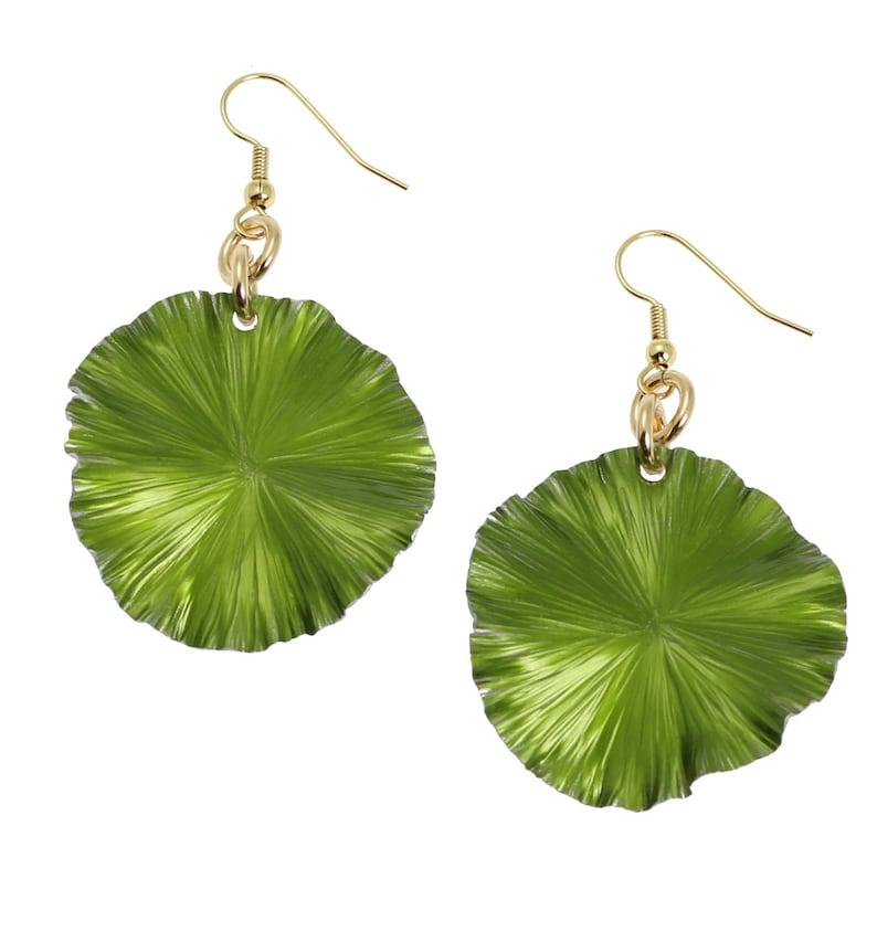 Greenery Anodized Aluminum Lily Pad Earrings  Greenery Leaf image 0