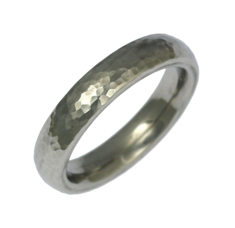 5mm Hammered Stainless Steel Mens Ring Mens Hammered Wedding image 0