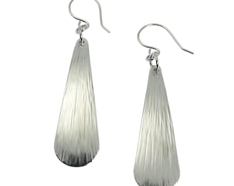 10 Year Anniversary Gift Chased Long Aluminum Teardrop Earrings 10th Anniversary Gift For Her Ten Year Anniversary Gift Aluminum Anniversary