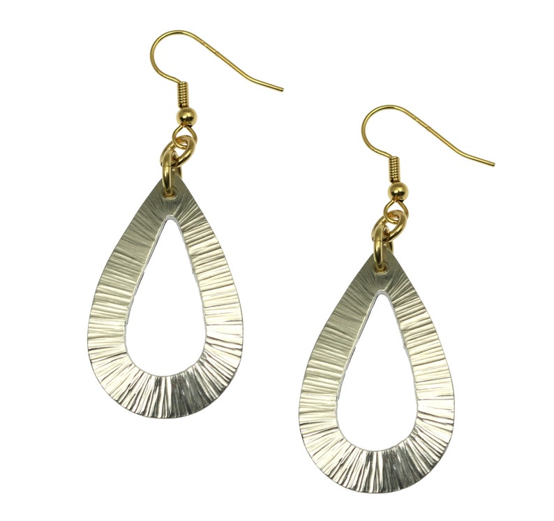 Chased Aluminum Open Teardrop Earrings Silver Tone Teardrop image 0