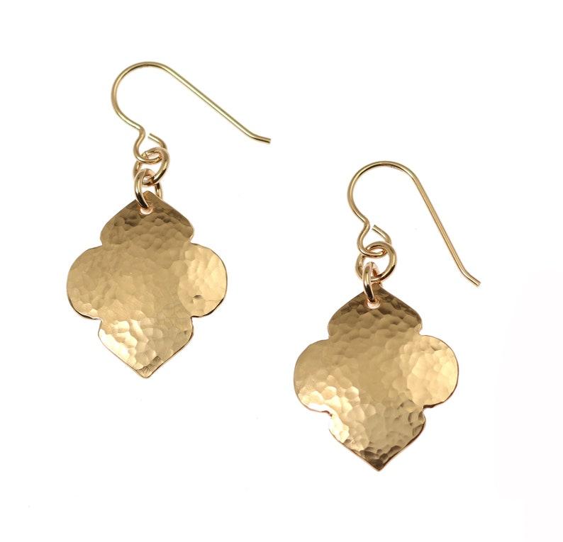 Hammered Bronze Quatrefoil Drop Earrings Hammered Bronze image 0