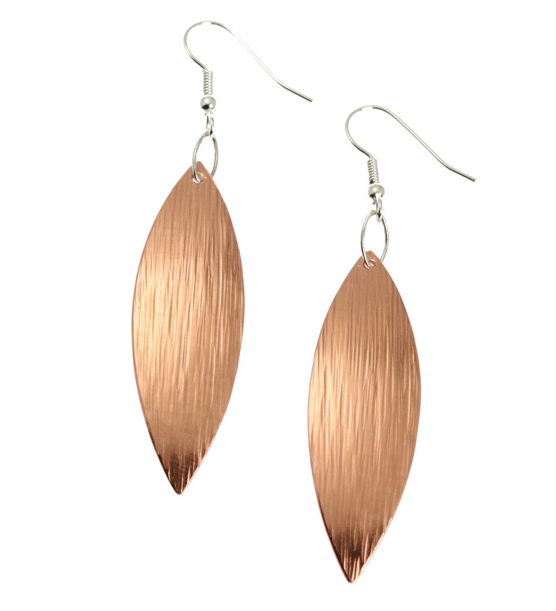 7 Year Anniversary Gift  Copper Leaf Earrings 7th Anniversary image 0