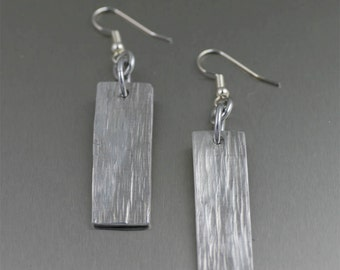Aluminum Bark Dangle Earrings - Silver Tone Dangle Earrings - Makes a Great 10th Wedding Anniversary Gift! -Hypoallergenic Earrings