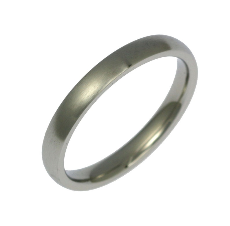3mm Brushed Stainless Steel Mens Comfort Fit Wedding Band image 0