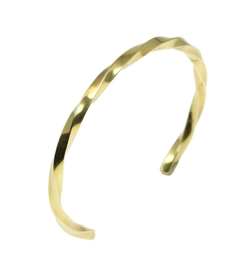 3mm Wide Twisted Nu Gold Tone Brass Cuff Bracelet  Gold Cuff image 0