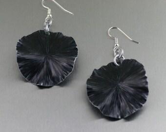 Handmade Black Anodized Aluminum Lily Pad Earrings ----- Makes a Cool 10th Wedding Anniversary Gift! - Handmade Jewelry by John S Brana