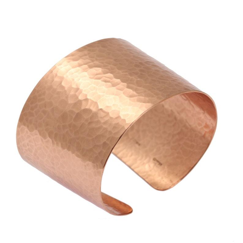 Hammered Copper Cuff Bracelet  Wide Copper Cuff Statement image 0