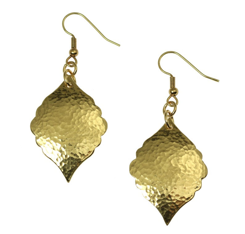 Hammered Nu Gold Moroccan Drop Earrings Hammered Gold image 0