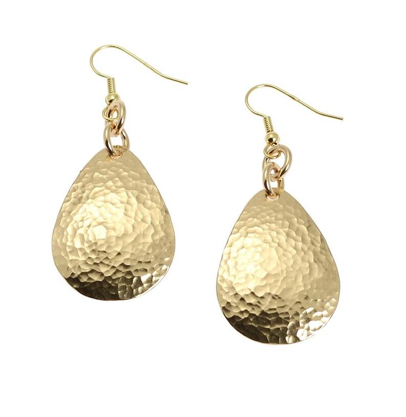 Hammered Nu Gold Brass Tear Drop Earrings  Gold Tone Earrings image 0