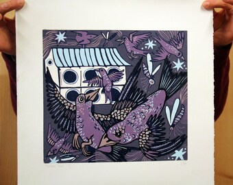 """Martin's House"" purple background, original woodcut"