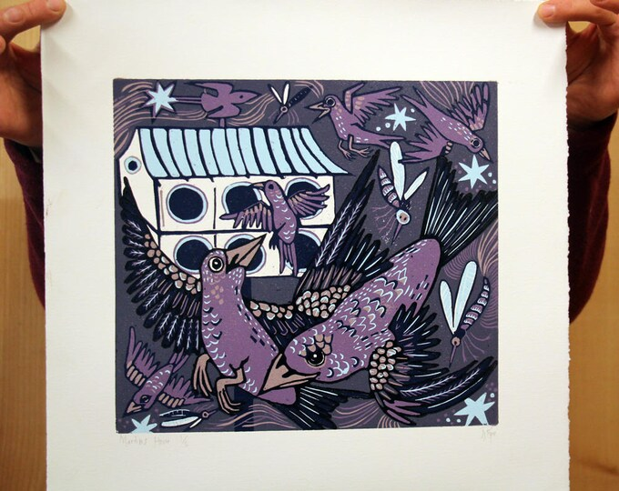 """Martin's House"" purple background, original woodcut"