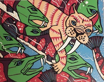 Sabretooth Cat and Sabretooth trout original woodcut, modern wall art, unique animals