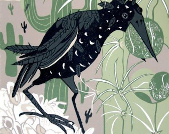 """Starling Stockpiling"" Original woodcut"