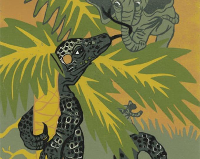 """If Pygmy Elephants Climbed Trees"" original woodcut"