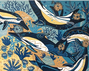 """""""Flippers and Spikes"""" original woodcut"""