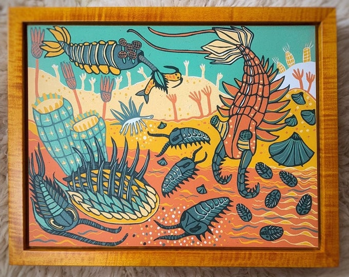 Framed Cambrian Reef woodcut print, block print, printmaking, original art by Jenny Pope, modern wall art, contemporary animal art