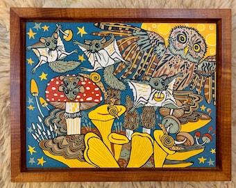 Pre-order Framed Flying Squirrel woodcut print, block print, printmaking, original art by Jenny Pope