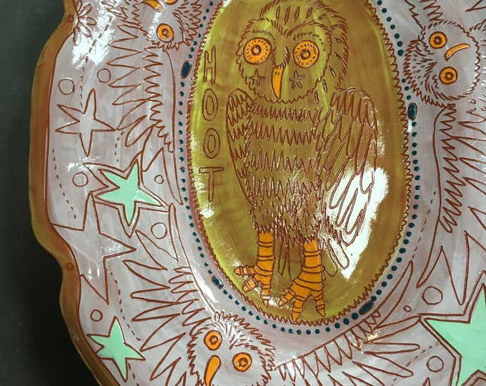 Owl Ceramic Platter, unique pottery