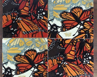 Coaster - wood set, Monarch, Butterfly, wood coasters, design by Jenny Pope