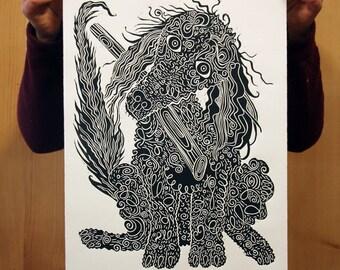 """Black Poodle"" original linocut"