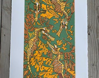 Artist proof, Green Leafy sea dragon, woodcut print, block print, original art by Jenny Pope, modern wall art, contemporary animal art