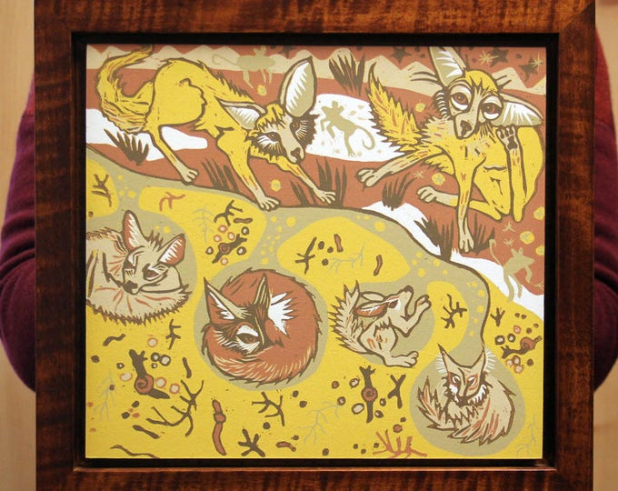 Pre-order Fox Lair woodcut framed in nutmeg tiger maple woodcut