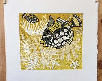 """White Hot Coral"" original woodcut by Jenny Pope"