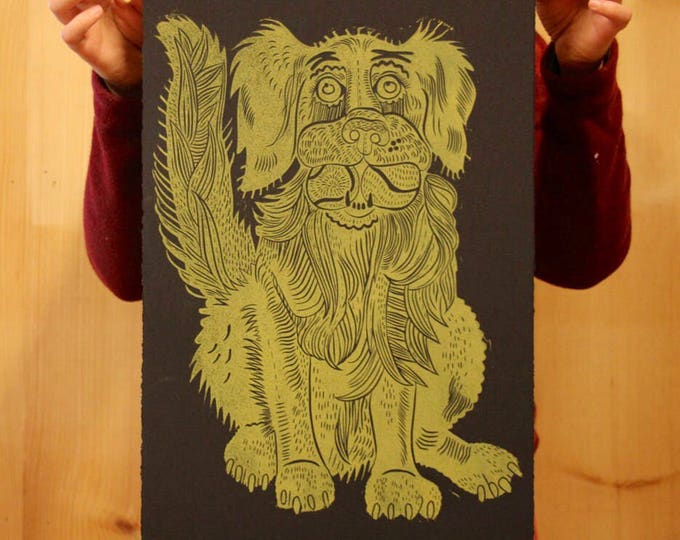 """Golden Retriever"" original linocut"