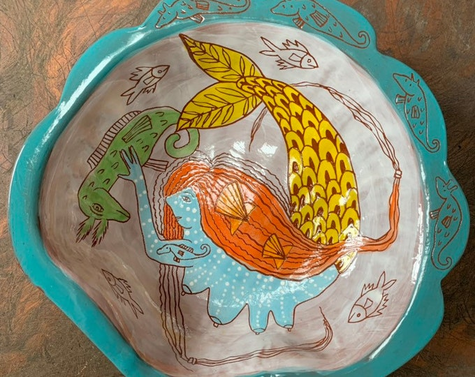 Mermaid girl in a  shell handpainted terra cotta ceramic bowl