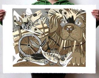"""""""Mackerel Cart"""" Original woodcut"""
