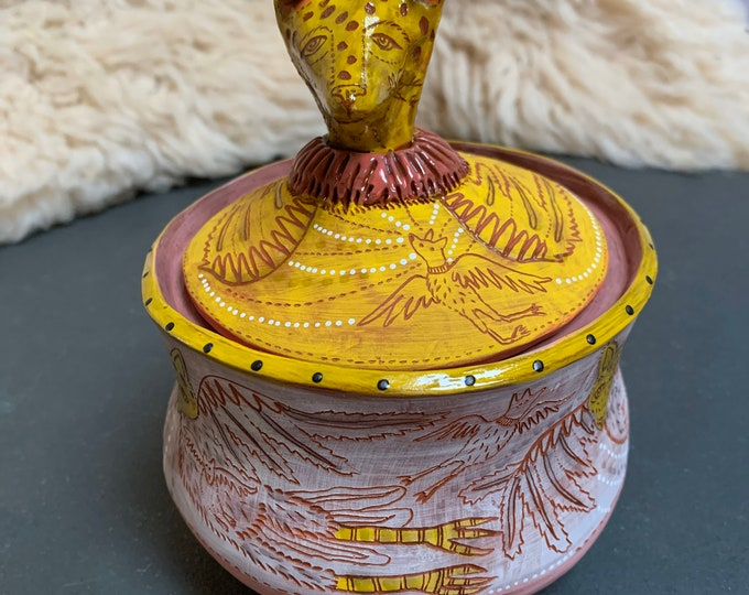 Flying dog Ceramic Jar, cookie jar, treat jar, handbuilt pottery