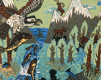 Pacific Northwest Picnic---original woodcut