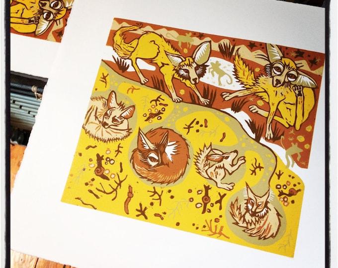 """""""Fox Lair"""" original woodcut"""