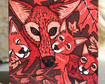 """Red Wolf, wolf family, print on wood, 6"""" x 6"""" square ready to hang, nursery decor, kitchen decor, bathroom art"""