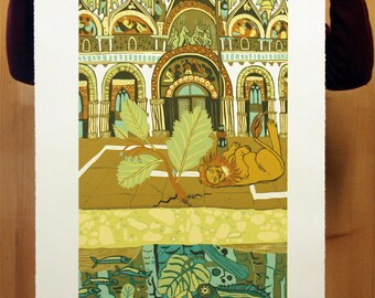 """San Marco Strata"" original woodcut"
