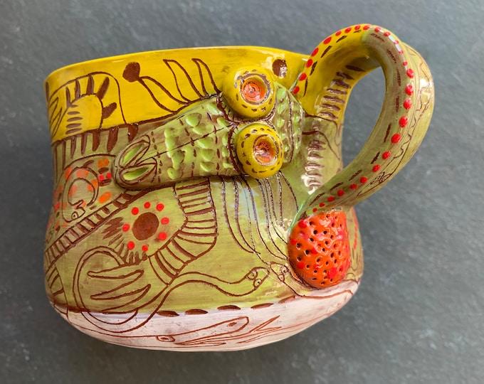 Snakehead handbuilt ceramic mug