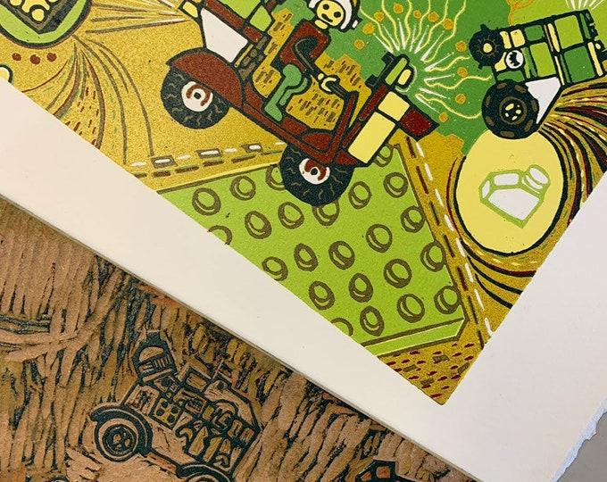 6 month payment plan, Lego, kids room, woodcut print, block print, original art by Jenny Pope, modern wall art, contemporary