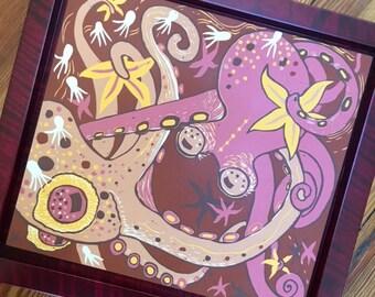 """Octopi Boink"" framed in red"