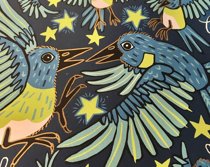 6 month payment plan, Bluebird, blue and gold, woodcut print, block print, original art by Jenny Pope, modern wall art, contemporary animal